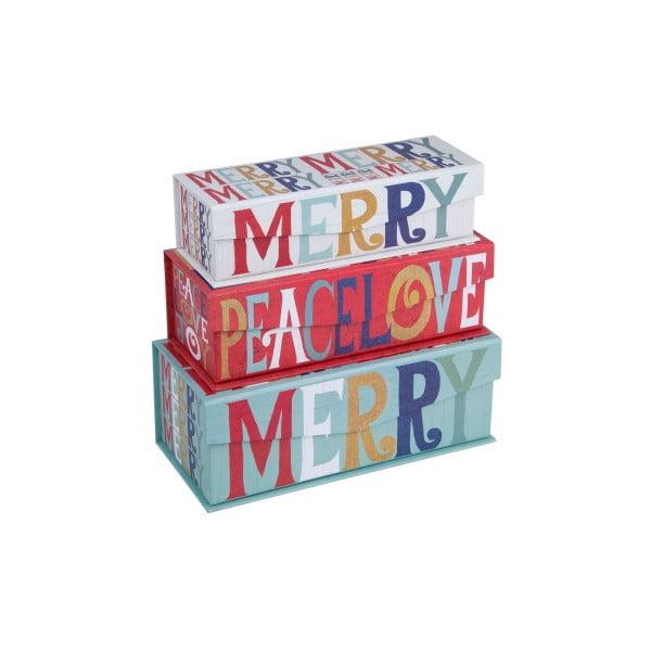Sada 3 ks boxov Tri-Coastal Merry Peace Love