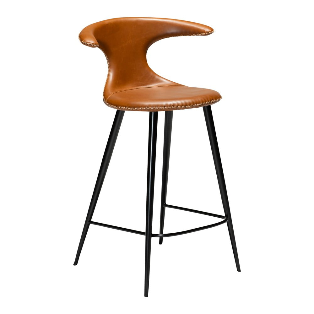 Koňakovohnedá barová stolička z eko kože DAN–FORM Denmark Flair, výška 90 cm