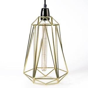 Svietidlo so zlatým tienidlom a čiernym káblom Filament Style Diamond #3