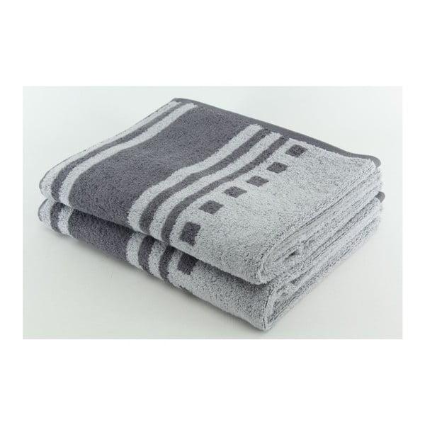 Set 2 osušiek Grey, 70x140 cm