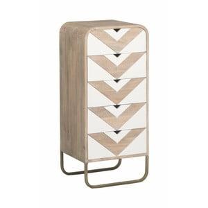 Komoda z masívneho mangového dreva s bielymi detailmi a 5 zásuvkami Woodjam Chevron