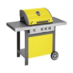 Žltý plynový gril s 3 samostatne ovládateľnými horákmi, teplomerom a bočným ohrievačom Jamie Oliver BBQ