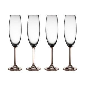 Sada 2 pohárov na sekt zo sivého krištáľového skla Bitz Fluidum, 220 ml