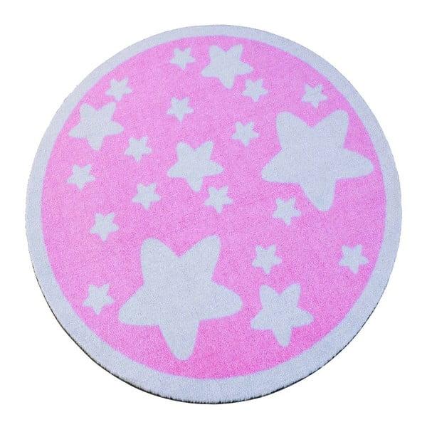 Detský ružový koberec Hanse Home Hviezdy, ⌀100cm