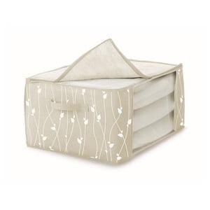 Béžový úložný box na prikrývky Cosatto Leaves, šírka60cm