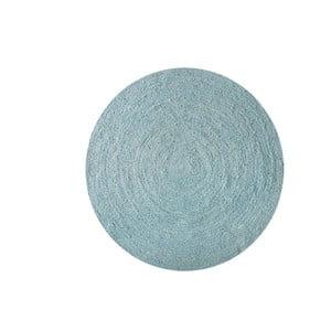 Koberec z juty Linen Rug Circle Blue Wave, ⌀ 140 cm