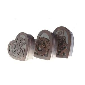 Sada 3 kovových boxov Hearts Antic