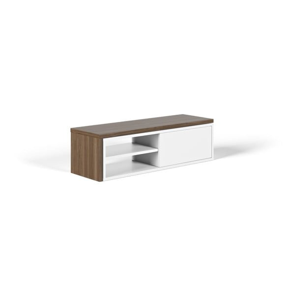 Biely televízny stolík s detailmi v dekore orechového dreva TemaHome Move