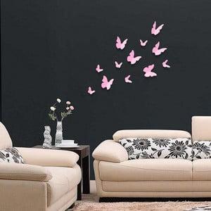 Trojrozmerné samolepky motýlikov, jednofarebné ružové