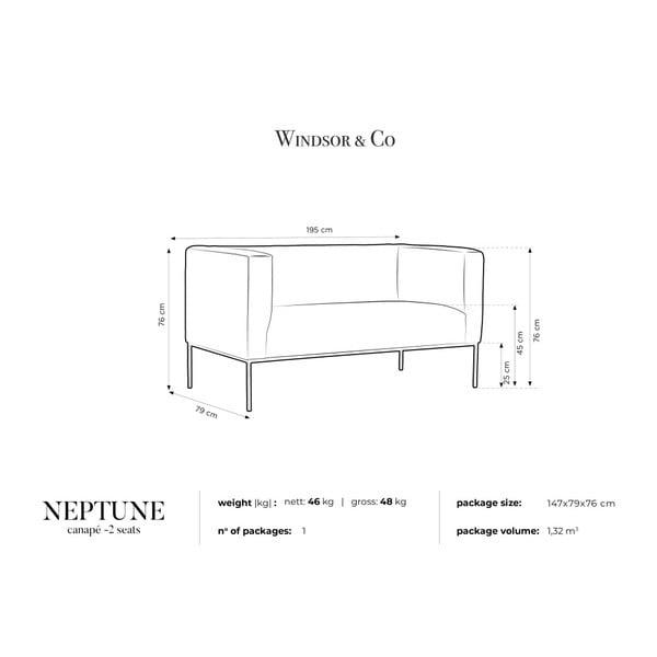 Žltá zamatová dvojmiestna pohovka Windsor & Co Sofas Neptune