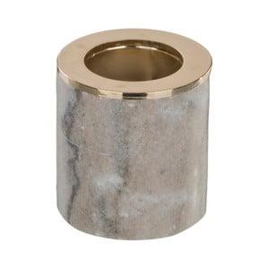Hnedý mramorový svietnik Native Luxury, výška 6,5 cm