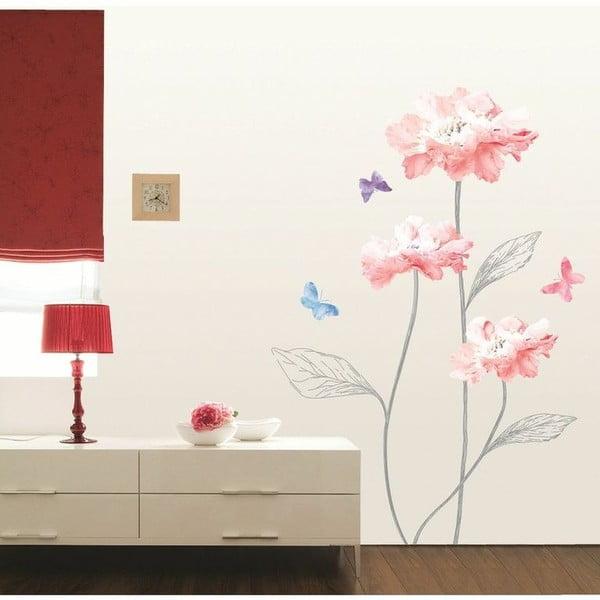 Samolepka Ambiance Light Pink Flowers And Butterflies