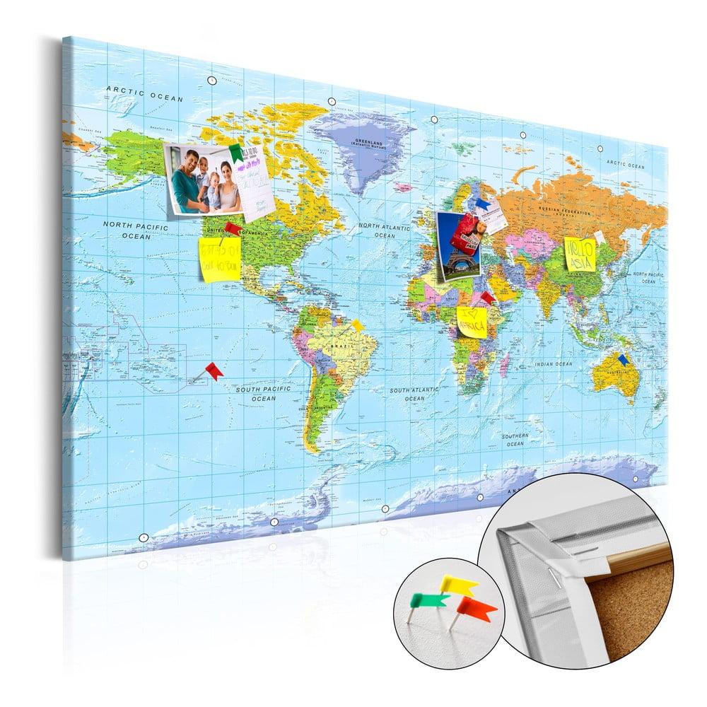 Nástenka s mapou sveta Bimago Orbis Terrarum 90 × 60 cm