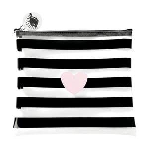 Kozmetická taštička Miss Étoile Heart Rose Stripes, 22 x 1 cm