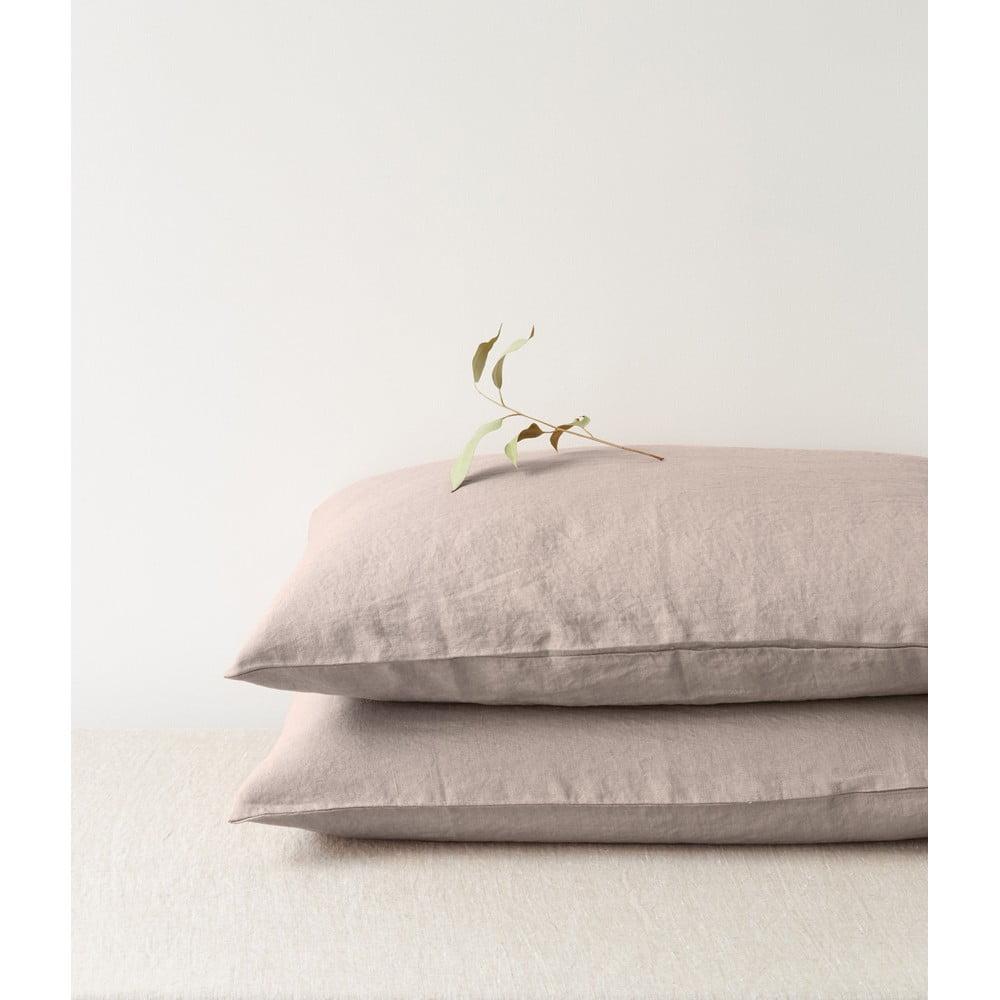 Svetlohnedá ľanová obliečka na vankúš Linen Tales, 70 x 90 cm