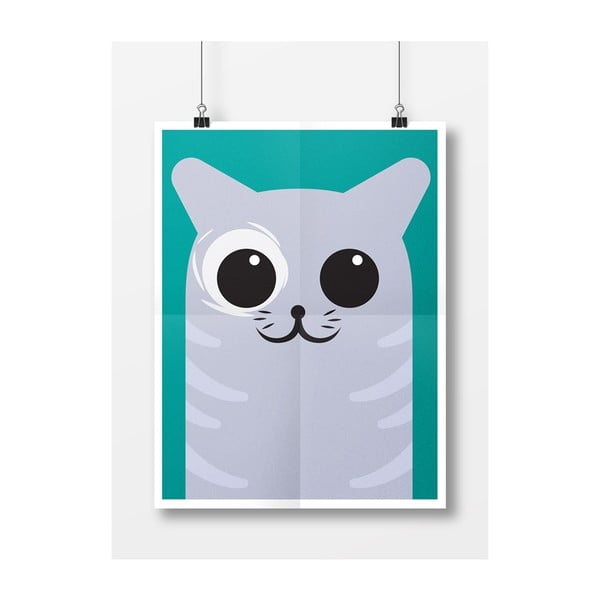 Plagát Mačička sivá, A4