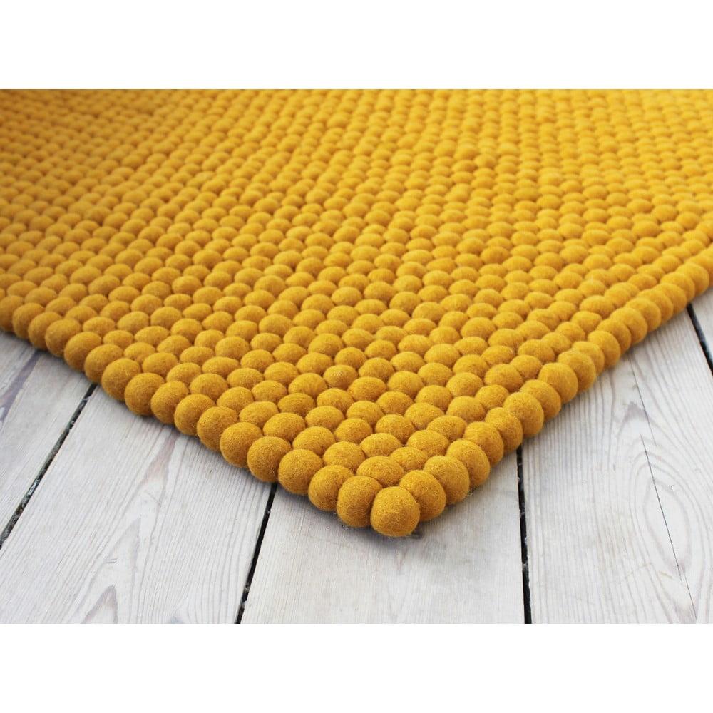 Horčicovožltý guľôčkový vlnený koberec Wooldot Ball rugs, 100 x 150 cm