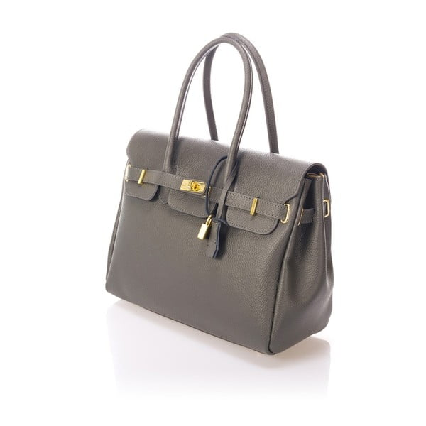 Sivá kožená kabelka Giulia Massari Birdie