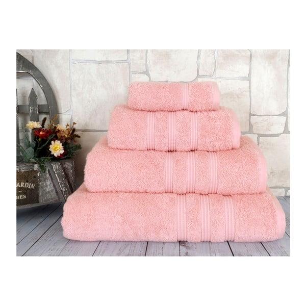 Lososovoružový uterák z česanej bavlny Irya Home Classic, 50×90 cm