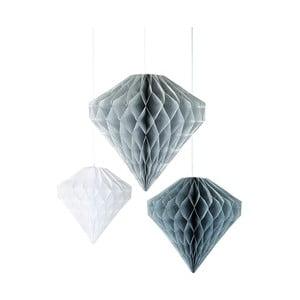 Papierové závesné dekorácie Diamond Honeycombs Silver, 3 kusy