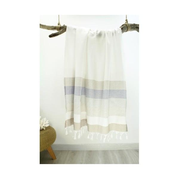 Svetlá osuška z čistej bavlny Hammam Strip Style, 90 x 180 cm