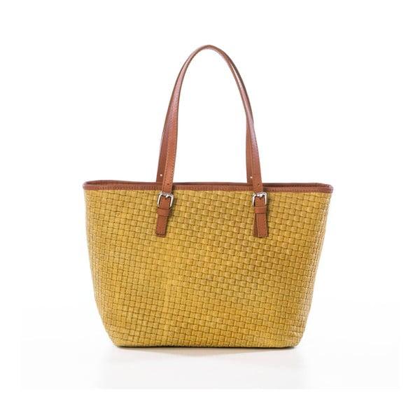 Žltá kožená kabelka Federica Bassi Alya