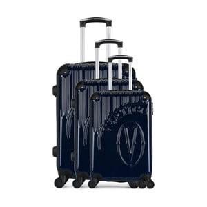 Sada 3 tmavomodrých cestovných kufrov na kolieskach VERTIGO Cadenas Integre