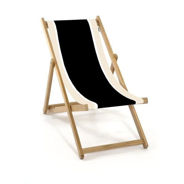 Skladacie lehátko bez rúčiek Beach, čiernobiele