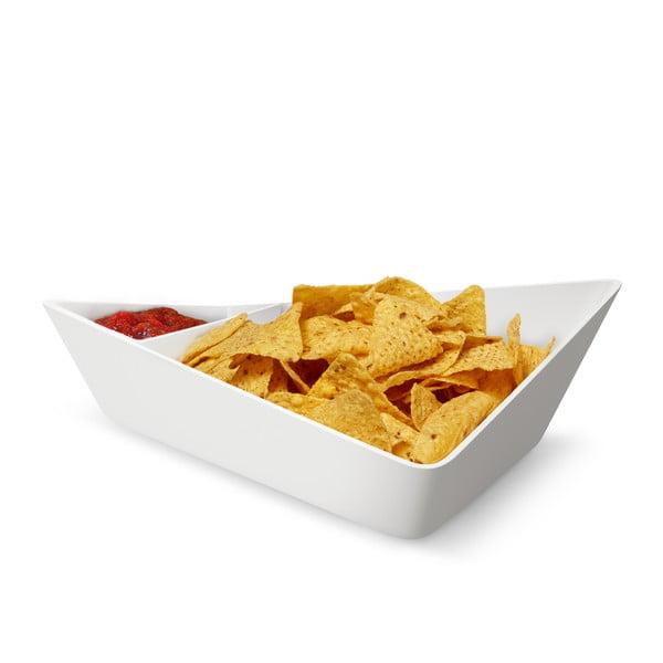 Dvojitá servírovacia misa Chip+Dip Bowl, biela