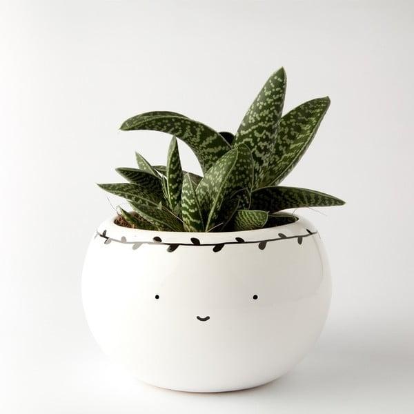 Okrúhly kvetináč Smiling with Black Leaves, 16 cm