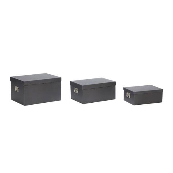 Sada 3 čiernych úložných boxov Hübsch Flossie