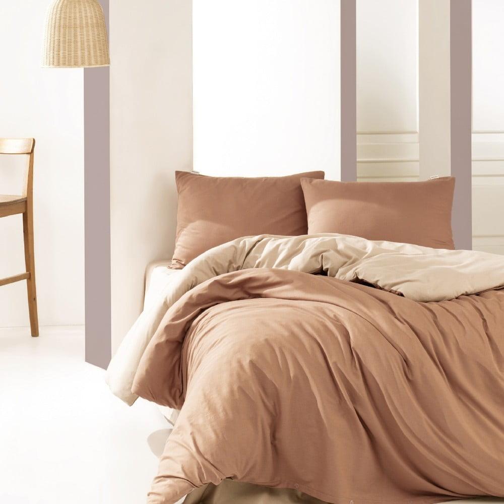 Bavlnené obliečky na dvojlôžko Suzy Beige, 200 × 220 cm