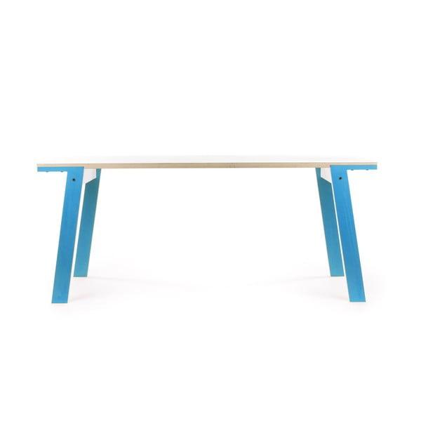 Modrý jedálenský/pracovný stôl rform Flat, doska 150x75cm