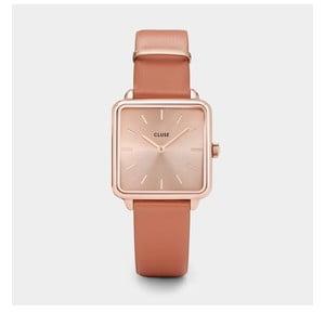 Dámske hodinky s hranatým ciferníkom vo farbe rosegold a koženým remienkom Cluse La Tétragone
