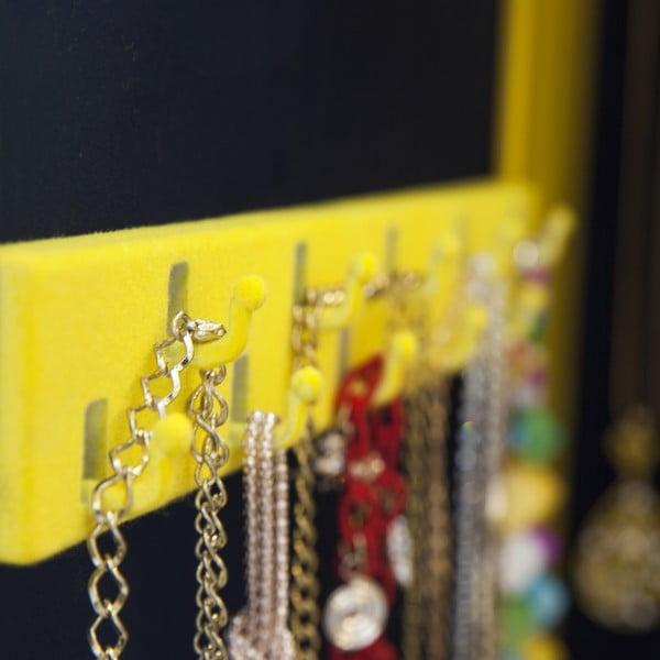 Uzamykateľné závesné zrkadlo so šperkovnicou Serena, žlté