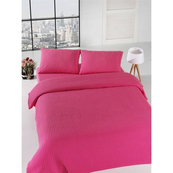 Fuksiový ľahký pléd cez posteľ Fuchsia Pique, 200x235cm