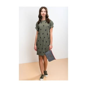 Dámske kaki zelené šaty Lull Leafy, veľ. XL