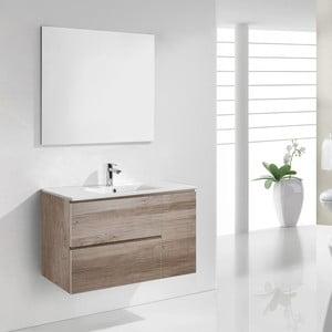 Kúpeľňová skrinka s umývadlom a zrkadlom Happy, dekor dubu, 80 cm