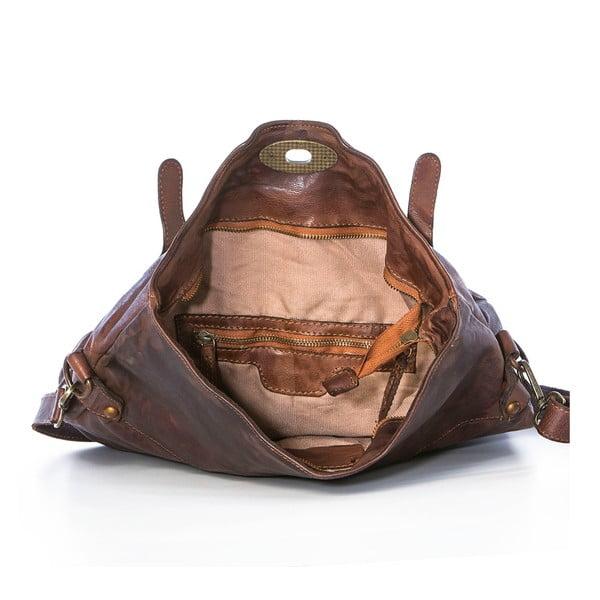 Tmavohnedá kožená kabelka Federica Bassi Rana