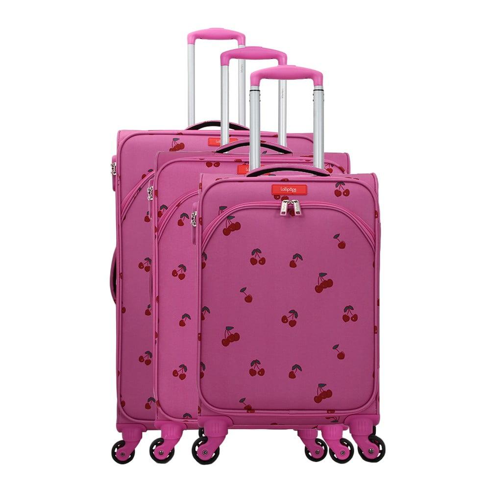 Sada 3 ružových kufrov na 4 kolieskach Lollipops Cherry