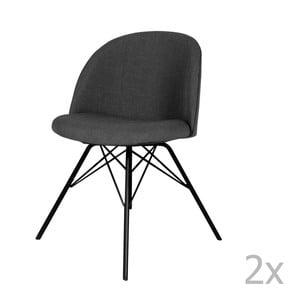 Sada 2 antracitovosivých jedálenských stoličiek Tenzo Sofia Porgy