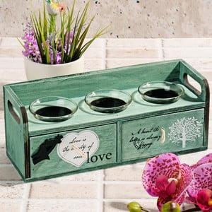 Drevený svietnik so zásuvkami Love