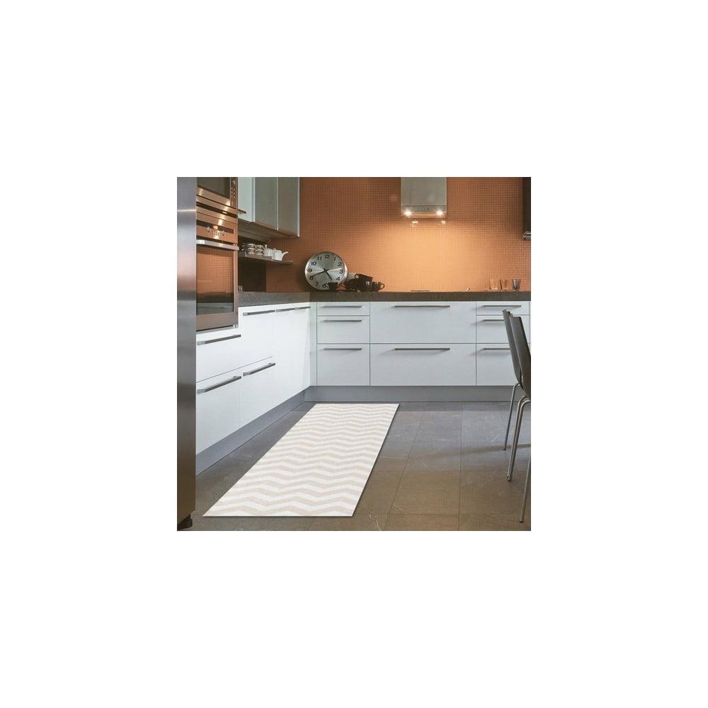 Vysokoodolný kuchynský behúň Webtappeti Optical Beige, 60 × 220 cm