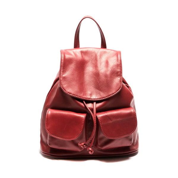 Červený kožený batoh Sofia Cardoni Valerio