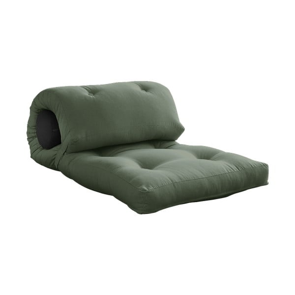 Variabilný olivovozelený skladací matrac Karup Design Wrap Olive Green/Dark Grey