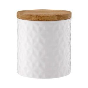 Biela porcelánová dóza s bambusovým vekom Ladelle Halo Flower, výška12 cm
