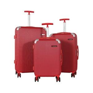 Sada 3 červených cestovných kufrov na kolieskach Travel World