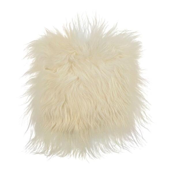 Biely kožušinový podsedák s dlhým vlasom, 37 x 37 cm