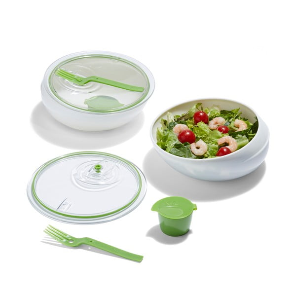 Cestovná miska Lunch Bowl, biela/zelená