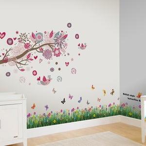 Samolepka na stenu Tráva s motýľmi